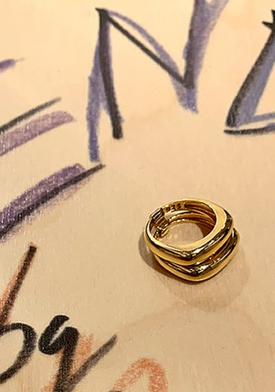 row double ring in gold