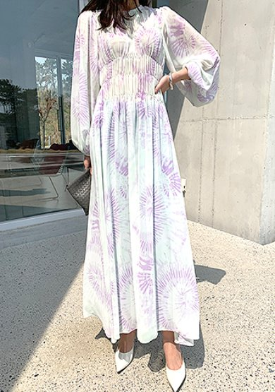 watery printing long dress in purple주문폭주!!